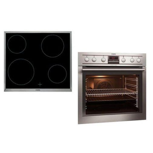 AEG EE3003011 inbouwoven en HE604000XB keramische kookplaat set