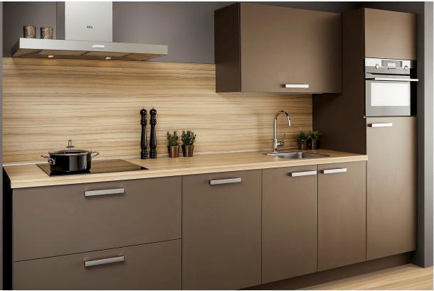 Moderne keuken rechte opstelling Parijs truffel