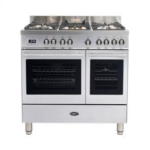 Boretti MFBG902IX gasfornuis Milano met 2 ovens en Dual Fuel wokbrander