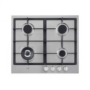 Etna KG959RVSA inbouw gaskookplaat met wokbrander en gietijzeren pannendragers
