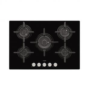 AEG HG795840NB inbouw gas op glaskookplaat met 5 VerticalFlame zones en gietijzeren pannendragers
