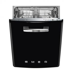 Smeg ST2FABBL2 onderbouw vaatwasser 50's style, zwart, met 4 QuickTime programma's en Acquastop