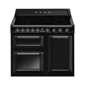 Smeg TR103IBL inductiefornuis zwart met 3 ovens nu met GRATIS Smeg 50's waterkoker en broodrooster