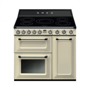 Smeg TR93IP inductiefornuis Crème met 2 ovens en GRATIS Smeg 50's style waterkoker en broodrooster