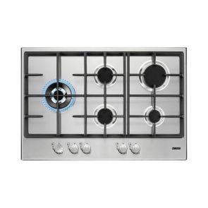 Zanussi ZGH76535XS inbouw gaskookplaat 74,4 cm breed ACTIE op=op! met wokbrander en gietijzeren pannendragers