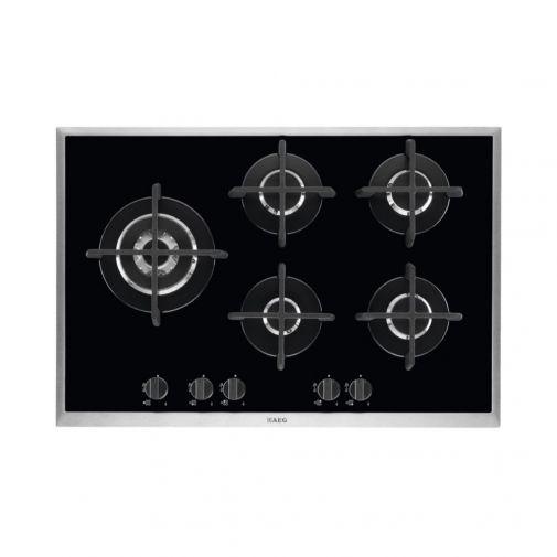 AEG HG795550XB inbouw gas op glaskookplaat met driedelige wokbrander