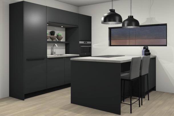 Moderne keuken AANBIEDING met eiland en AEG apparatuur